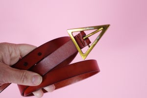 Triangle Buckle Tan Leather Belt