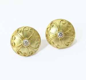 Image of Diamond Antique Disc Earrings 18k