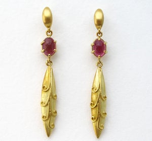 Image of Tourmaline Antique Bead Dangle Earrings 18k