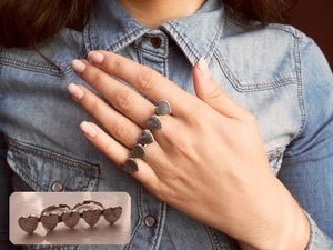 Image of Five Heart Double Finger Ring
