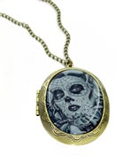 Image of Grey Dotd Sugar Skull Locket
