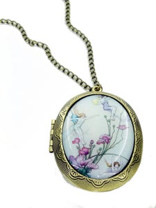 Image of Fairies in on Flowers Locket