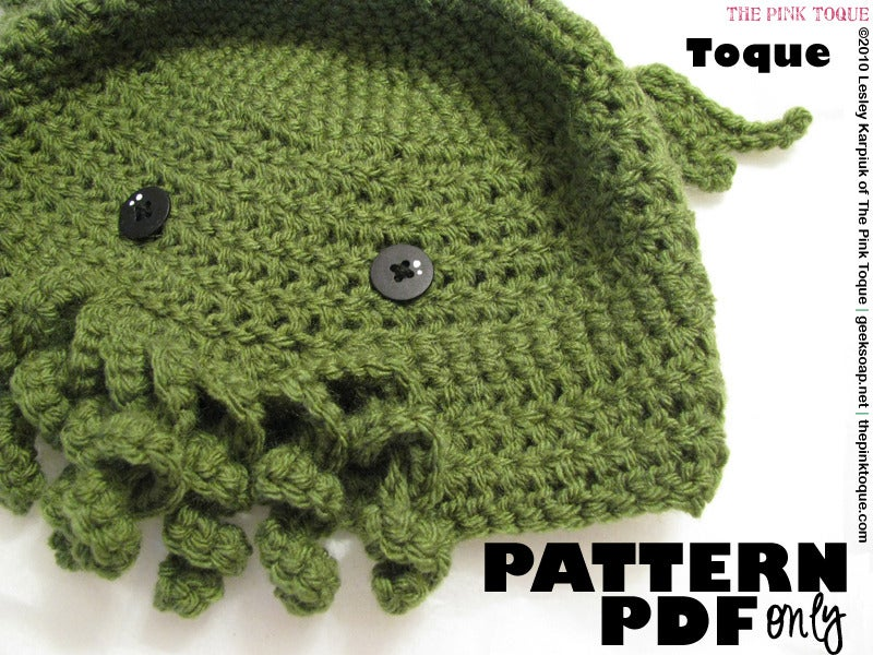 The Pink Toque Shop The Cthulhu Toque Crochet Pdf Pattern