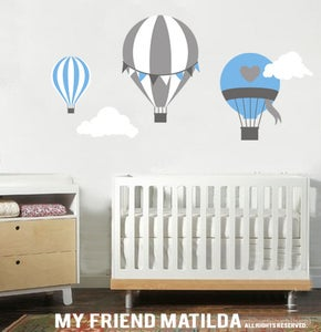 Hot Air Balloon Wall Sticker Decal M001 Kids Baby Nursery Theme