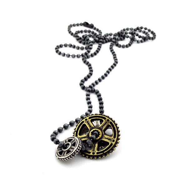 Image of DOUBLE SPROCKET CHARM NECKLACE