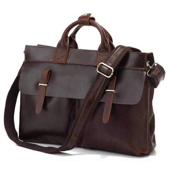 """Image of Vintage Handmade Leather Briefcase / Messenger / 13"""" 15"""" MacBook Pro or 13"""" 14"""" 15"""" Laptop Bag (n75)"""