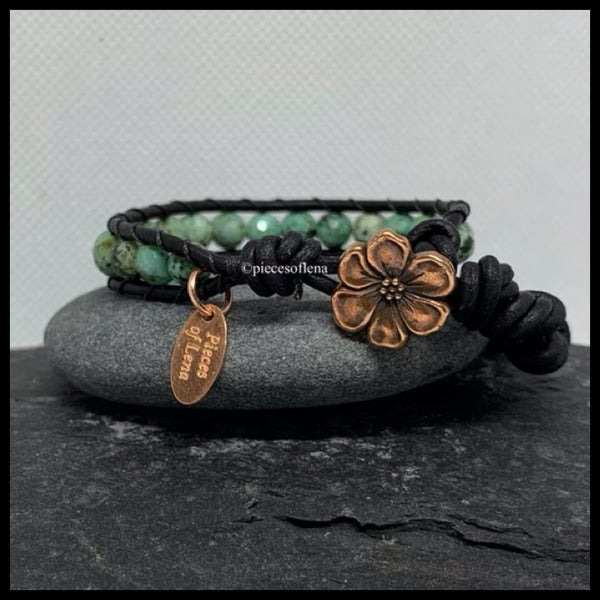 Image of SINGLE WRAP BRACELET - African Turquoise Floral