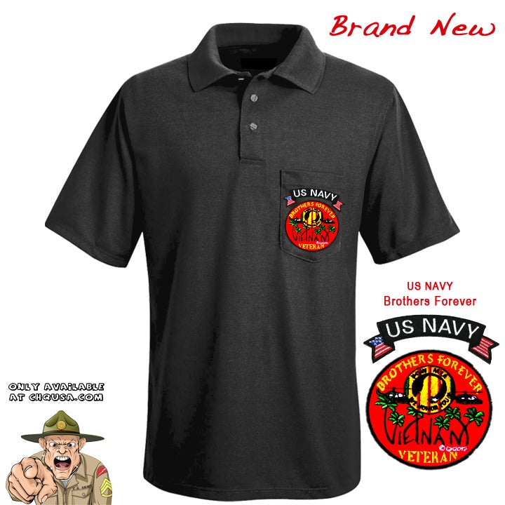 Image of MENS POLO W/BROTHERS FOREVER & NAVY TAB- PSBP2/B