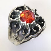 Image of Vintage Design, Mens Sunburst Ring with an Orange Sapphire