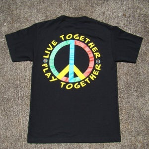 "Image of SOLExSEARCHING II x STREET SOCIETY ""LIVE TOGETHER, PLAY TOGETHER"" SHIRT MULTI-COLOR/ON BLACK"