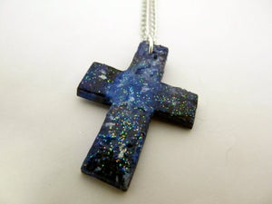 Image of Blue Nebula Cross Necklace