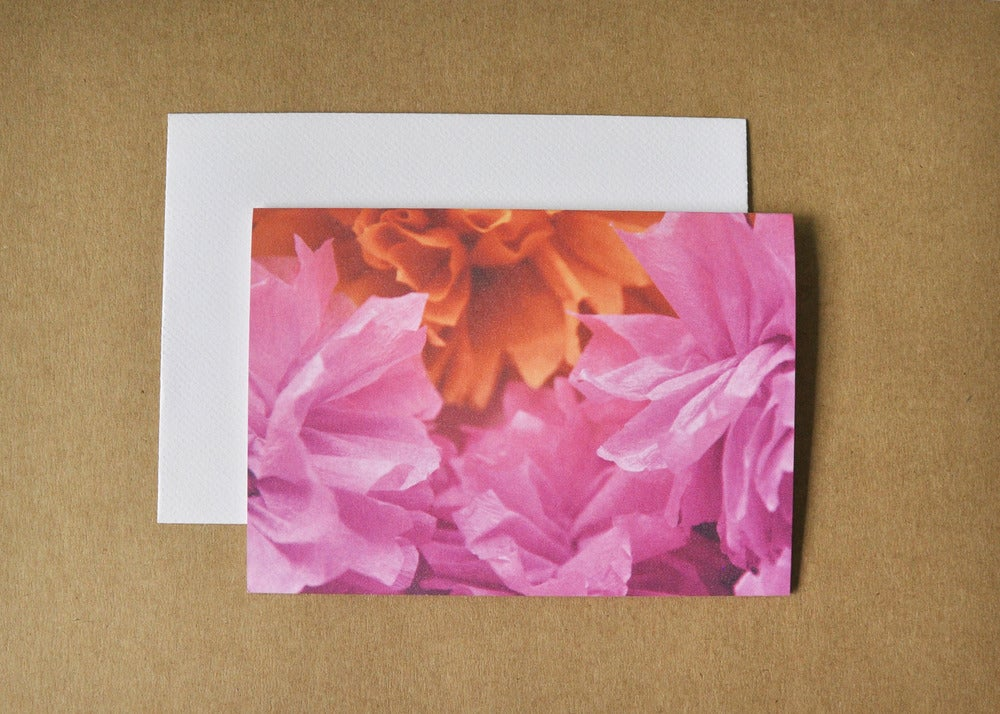 Image of crepe flower tangerine card