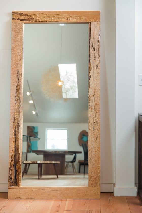Image of large figured maple mirror