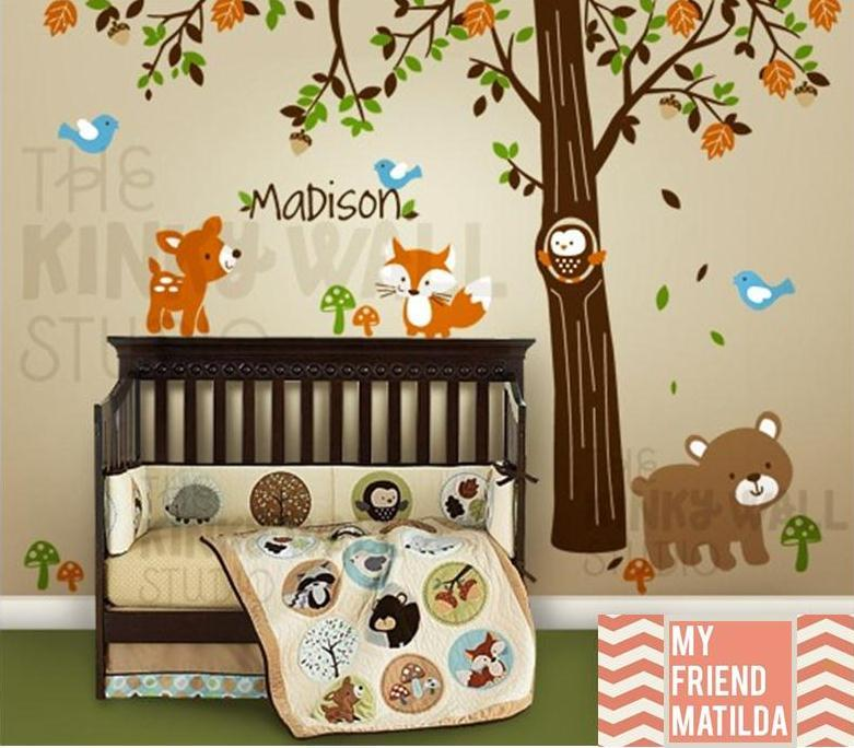 Children Wall Decal Vinyl Wall Sticker tree decal - Forest Friends with custom name - KK116  sc 1 st  Removable Wall Decals u0026 Stickers by My Friend Matilda & Children Wall Decal Vinyl Wall Sticker tree decal - Forest Friends ...