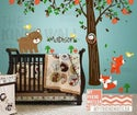 Children Wall Decal Vinyl Wall Sticker tree decal - Forest Friends with custom name - KK116