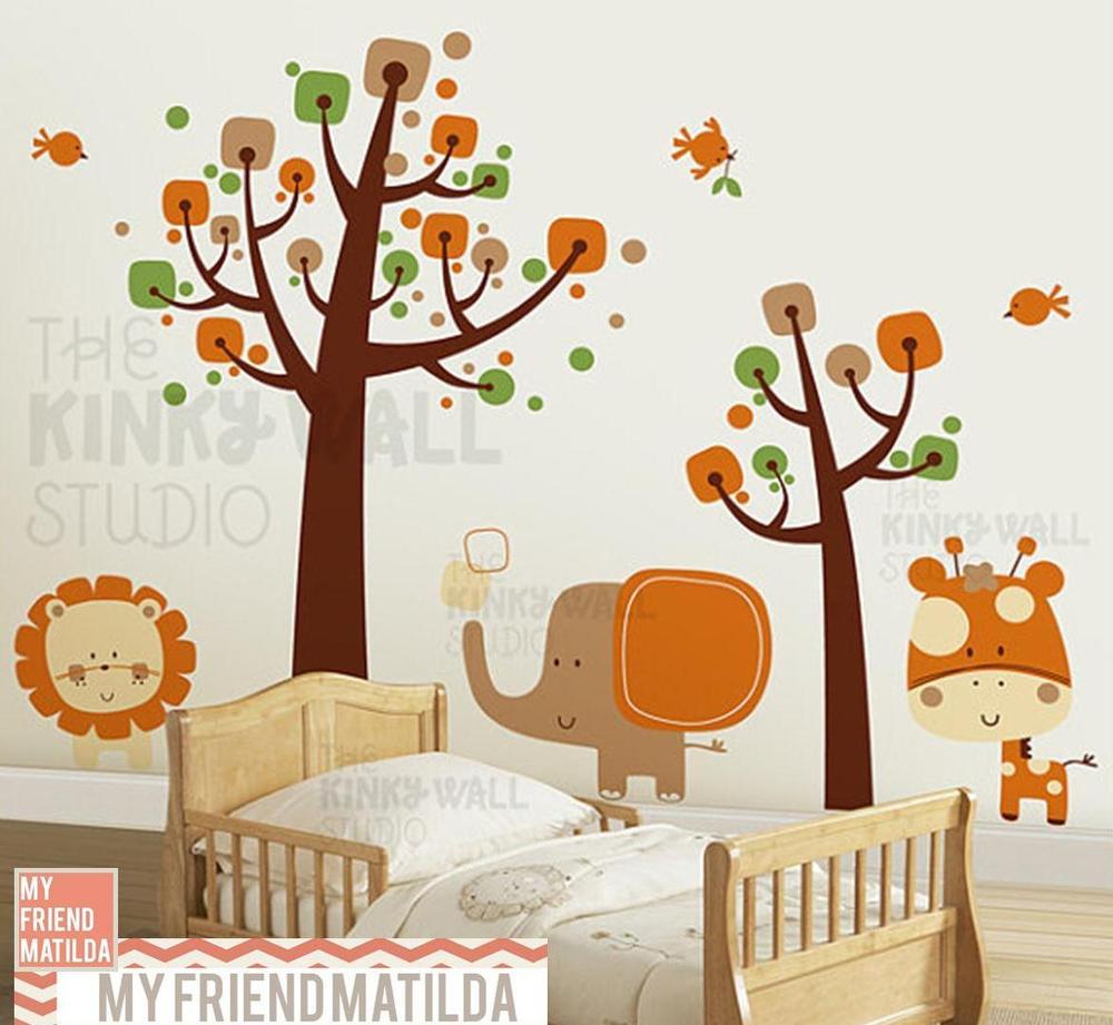 Children Wall Decal Wall Sticker Tree Decal  Safari Animals   KK130