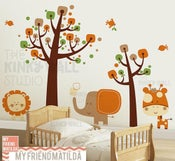 Image of Children Wall Decal Wall Sticker tree decal -Safari Animals - KK130
