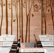 Image of Tree Wall Decal Wall Sticker - Winter Trees Forest with birdcage - 101in set of 10 trees - kk136