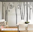 Tree Wall Decal Wall Sticker - Winter Trees Forest with birdcage - 101in set of 10 trees - kk136