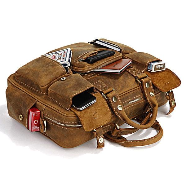 Image of Handmade Vintage Leather Business Travel Bag, Messenger, Duffle Bag, Weekend Bag, Briefcase #n62-2