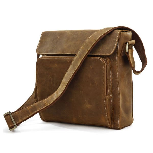 Image of Vintage Handmade Genuine Crazy Horse Leather Messenger Bag Satchel / iPad Bag in Brown (n83)