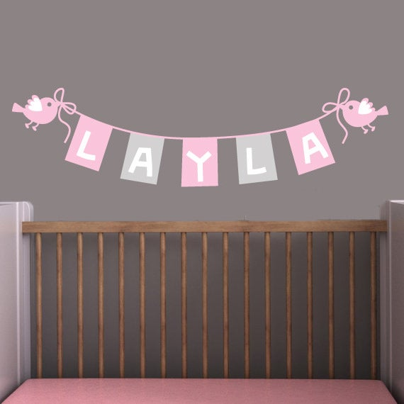 Custom childs baby name bunting wall decal sticker m009