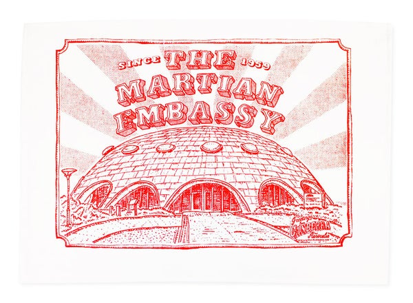 Image of Canberra martian Embassy tea towel