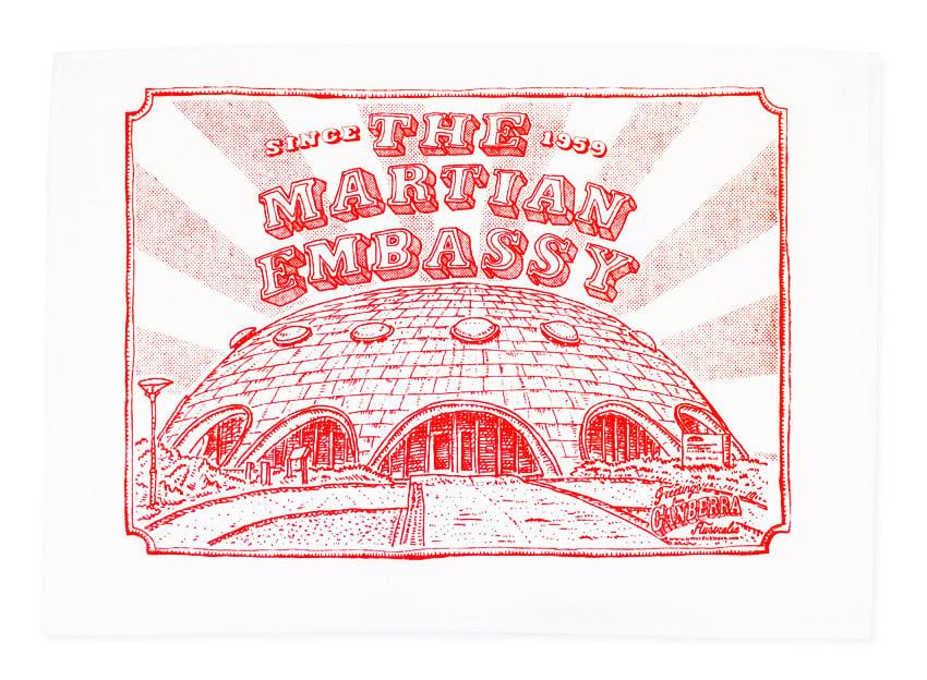 Image of Canberra martian Embassy tea towel