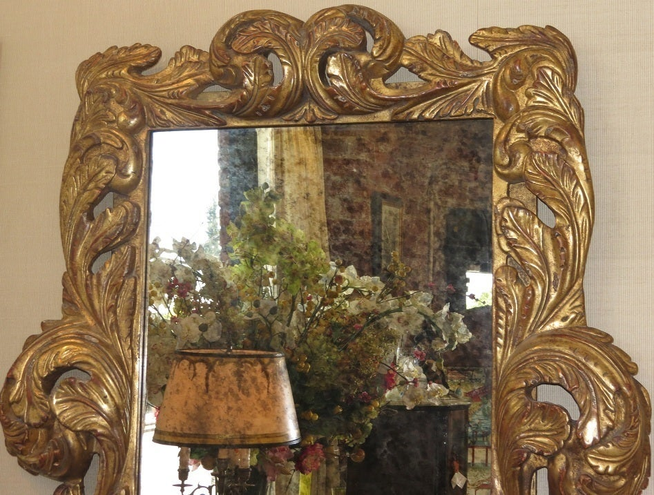 Image of Spectacular Dramatic Baroque Hand Carved Designer Giltwood Mirror