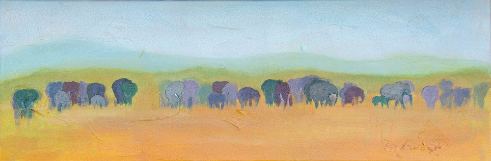 Image of Elephant Train Painting