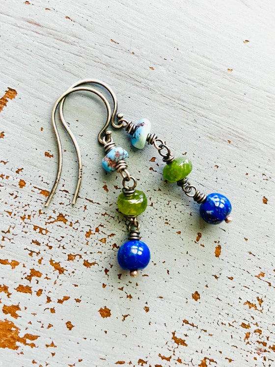 Image of Golden Hills turquoise and lapis earrings