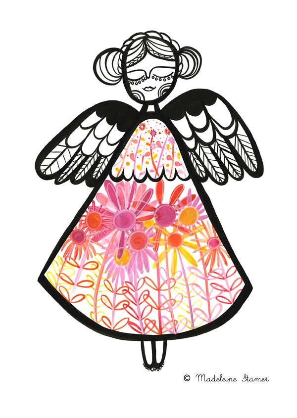 Image of Angel With Florals Print