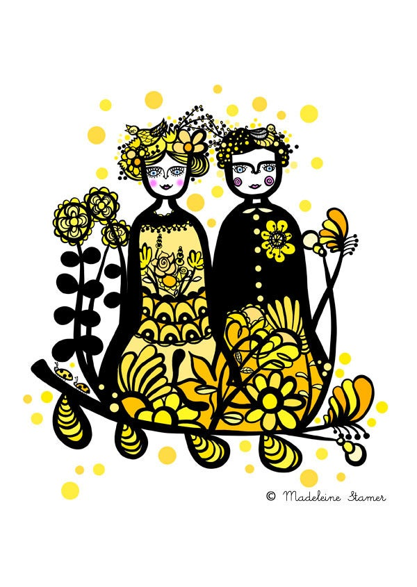 Image of Yellow Couple Print