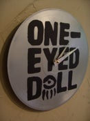 Image of One-Eyed Doll xDM - Black Logo on Silver - Custom Record Clock