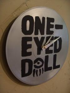 Image of One-Eyed Doll xDM - Black Logo on Silver - Custom Record Clock