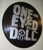 Image of One-Eyed Doll xDM - Silver Logo on Black 10inch - Custom Record Clock