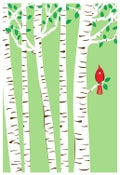 Image of Spring Cardinal Silkscreen Birch Trees Art Print