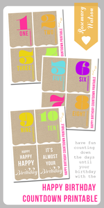 Image of Happy Birthday Countdown Printable