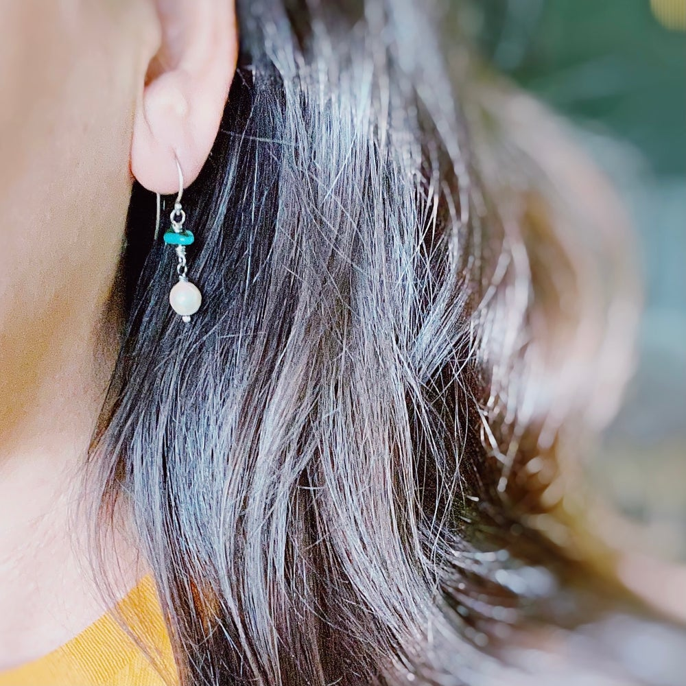 Image of pearl and turquoise earrings