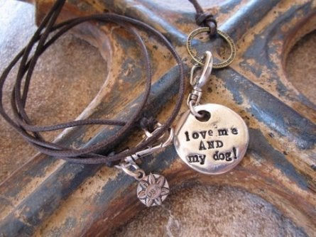 "Image of ""Love me and my Dog"" Charm or Dog Bauble Pewter"