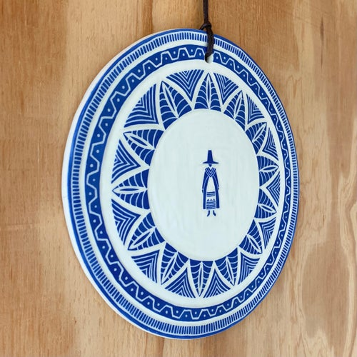 Image of Blue Welsh Lady Hanging Plaque