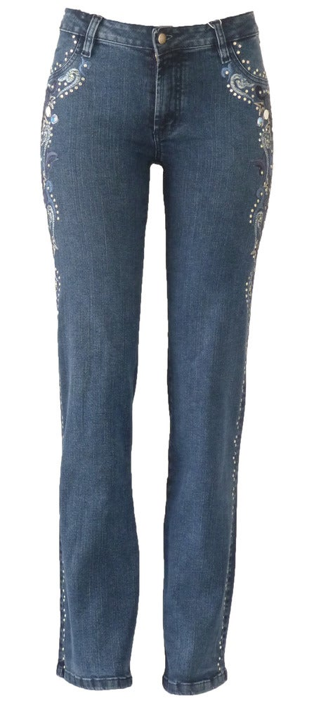 Image of Mid Blue Tonal Swirl Jeans 11S2430P