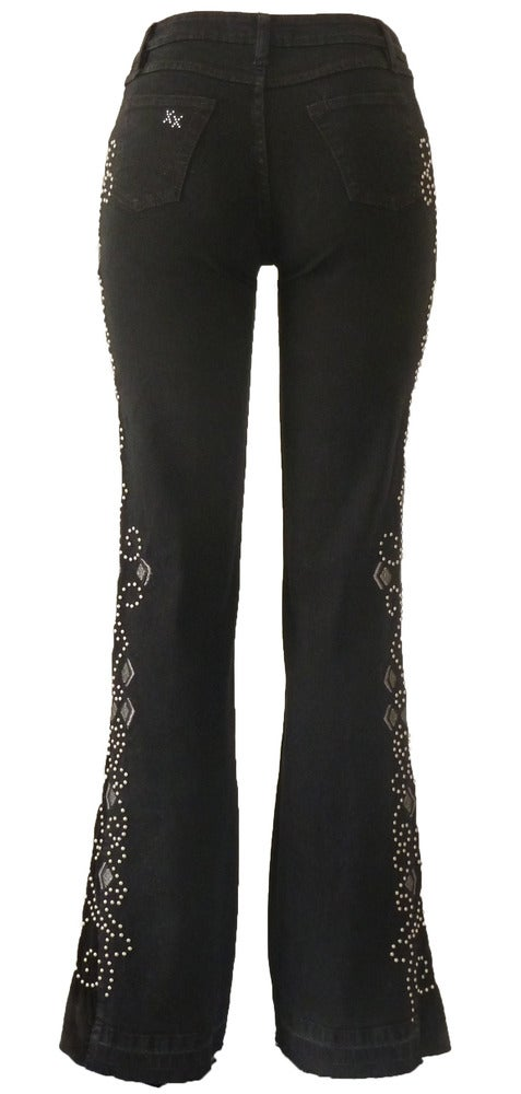Image of Black 'Diamond Heart' Jeans LQF2007BLSVP