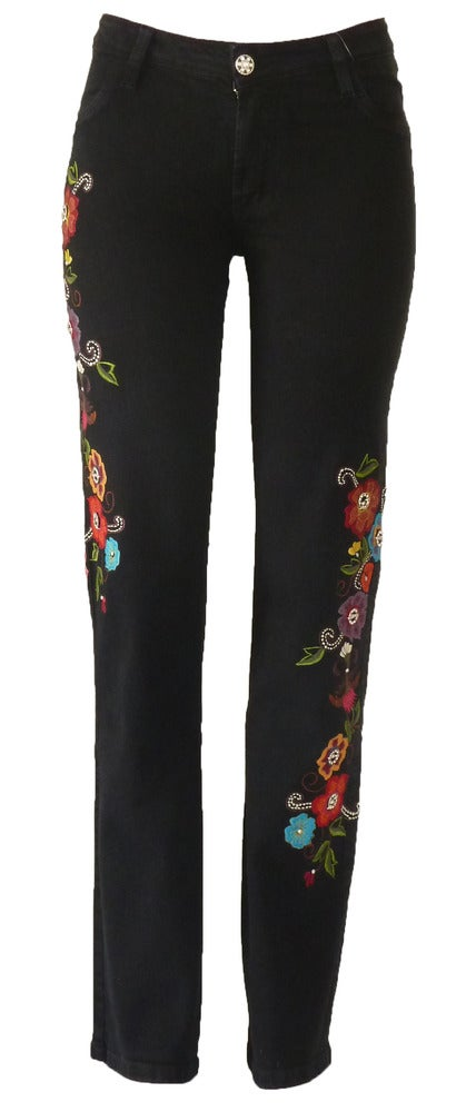Image of Black 'Retro Floral' Jeans 11S2385BLKP