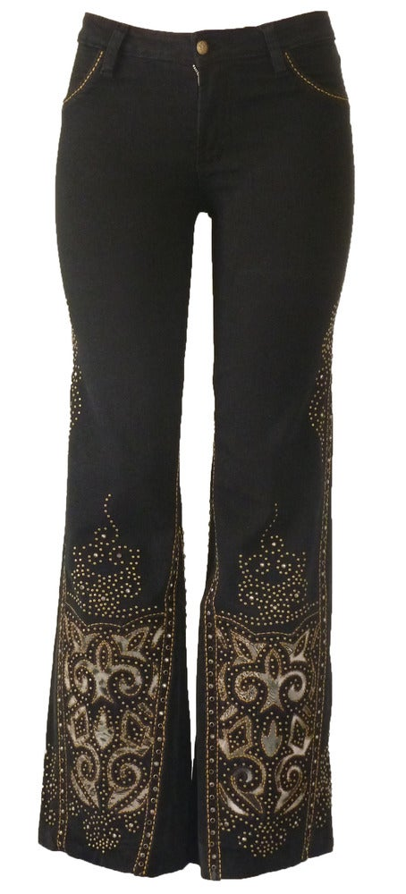 Image of Black 'Fluer De Lis' Jeans 12W117P