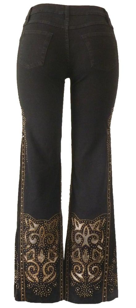 Black 'Fluer De Lis' Jeans 12W117P