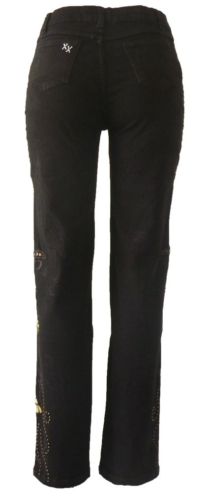 Image of Black 'Swirl Wave' Jeans 6W2028BLKP