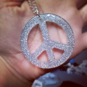 Image of Glitter Peace Pendant Necklace