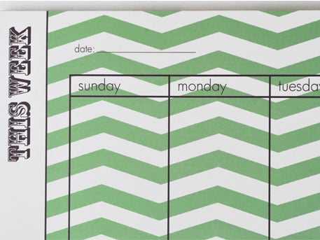 Image of ZIGZAG WEEKLY PLANNER GREEN NOTEPAD