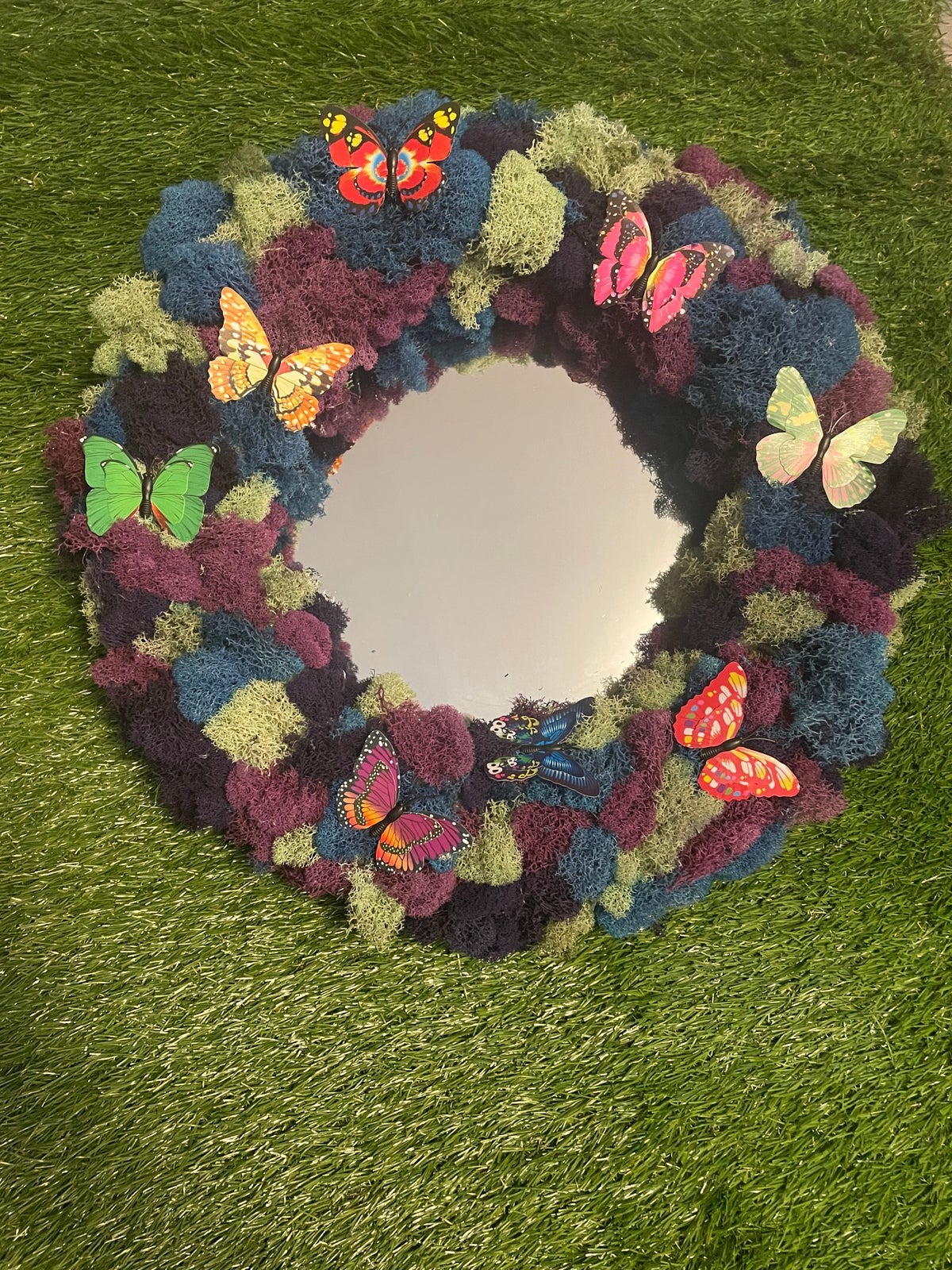 Image of Butterfly moss circle mirror